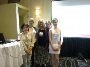 My students and I have just returned from the annual meeting of the International Association for the Study of Dreams in Berkeley, California. We were joined in one of our sessions by a Chinese collaborator, Ming-Ni Lee who is from Tiawan and is pictured below. Next to her is Alison Ditner, me, Arielle Boyes, and Sarah Gahr. Arielle presented her honors thesis and Alison and Sarah presented posters on projects that they were involved with in the past year.
