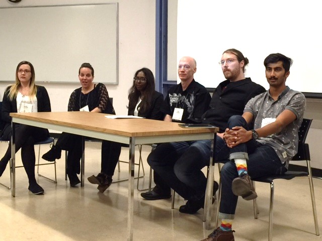 Discussion period after the presentation at the University of Calgary with all the student presenters. They are from left to right: Ann Sinyard, Elisa White, Akshya Boopalan, Craig Guthrie, Carson Flockhart, and Dylan Wijeyaratnam.
